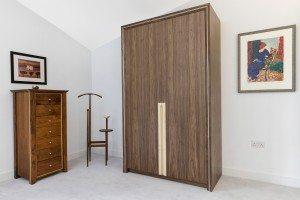 Walnut and Sycamore inlay wardrobe - Luke Jones Furniture